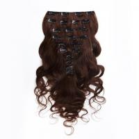 Cheap Dark Brown Clip In Colored Hair Extensions Body Wave Indian Virgin Hair 7A Grade for sale