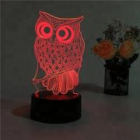 China Home 3D Illusion Owl Shape Plug Powered Dimmable LED Desk Lamp Night Light Wholesales on sale