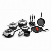 Quality 22 Pieces Die-cast Cookware Set with 2 Layers of Nonstick Teflon Coating, Made of Aluminum wholesale