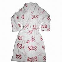 Quality Ladies' plush bathrobes with printed burnout, fashionable design, super soft and comfortable wholesale