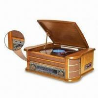 Quality Nostalgia Wooden Music Center with USB Encoding, 2-digit LED Track Indicator and External FM Wire wholesale