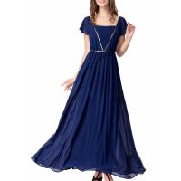 Quality Elegant Chiffon U Neck Womens Summer Maxi Dresses Royal Blue Flare Sleeves Big Sweep wholesale