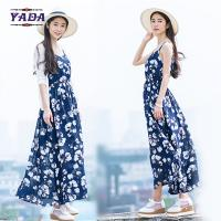 Quality Summer beach floral spaghetti straps maxi latest party designs 100% cotton white dress with good quality wholesale