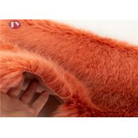 Quality Soft Bright Colors Silky Faux Fox Fur Fabric , Light Brown Faux Fur Fabric 35mm Pile wholesale