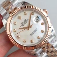 Quality Wholesale 2017 Rolex DateJust Two Tone 41mm Automatic 3235 Shell Dial Diamonds Marks Fluted Bezel Watch wholesale