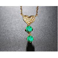 China Lover Pendant Necklace Emerald Gemstone Jewelry 18K Gold Chain Adjustable on sale