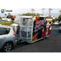 Quality Trailer Mobile 5D Cinema Black / Red Luxury Chair with Complete Special Effect Machine wholesale