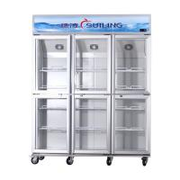 Cheap High Efficiency Commercial 6 Glass Door Refrigerator Fan Cooling Dual Compressor for sale