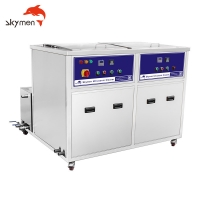 China Twin Tanks 35 gallons Industrial Ultrasonic pcb Cleaning Machine with Heating Tank 3600W on sale