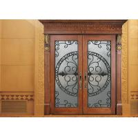 China Glass Lowes Wrought Iron Entry Doors And Glass Agon Filled 22*64 inch Size Durable on sale