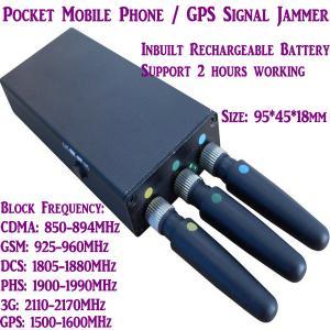 Quality 3 Antenna Mini Mobile Phone Signal Jammer 3G/GSM/CDMA/DCS/PHS GPS Blocker Inbuilt Battery wholesale