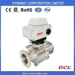 China Super Small Torque 24VDC DN65 2 Piece Sanitary Ball Valve on sale