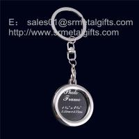China Round metal photo frame key ring, round shape picture locket keychains, on sale