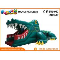 Quality Green Shark Inflatable Obstacle Course Tunnel / Assault Course Bounce House wholesale