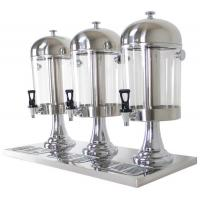 Quality 3-Head Beverage Dispenser 3 x 8.0Ltr Polycarbonate Container Stainless Steel Domed Lid Drip Free Spout wholesale