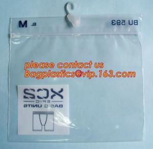 China Sinicline hot sale underwear bag white hanger pvc waterproof bag with zip lock,bag for Plastic side zipper underwear bag on sale
