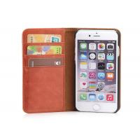 Quality Brown iPhone 6 6S Genuine Leather Case , Waterproof Flip Book Cover Design wholesale