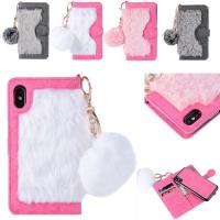 China Hot sale in Amazon Fur  Detachable TPU Leather Wallets Phone Case Cover for iPhone X on sale