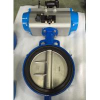 Quality DN65 Soft Seal Centerline Butterfly Valves Wafer Type With Pneumatic Actuator wholesale
