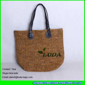 Quality LUDA floral handbags brown women crochet raffia beach tote bag wholesale