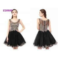 China Boat Neck Tulle Beading Ladies Cocktail Dresses For Wedding Party Black And Champange on sale
