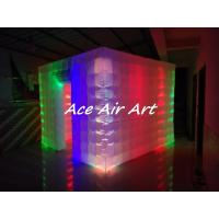 Cheap rental large 3x3m portable cube inflatable photo booth tent with colorful led for sale