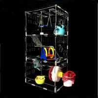 Cheap acryl hamster cage,New style clear square household 3 steps acrylic hamster cage for sale with available price for sale