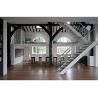 Quality steel mono glass staircase / wood steps glass railing stairs /L shape steel wood staircase wholesale
