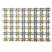 PVD Color Metal Frame Room Drivider With Steel Rigid Decorative Weave Fabric