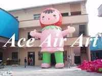 Quality custom giant 20 feet cute inflatable strawberry girl for outdoor advertising wholesale