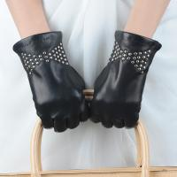 Quality Best Selling women / Ladies real sheepskin leather winter gloves with nail decorate wholesale