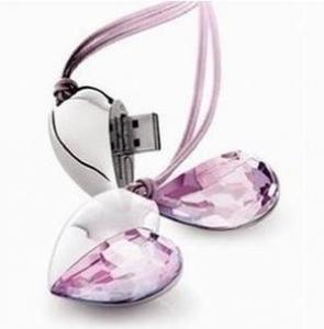 China metal crystal heart necklace Jewelry Heart shape USB Drive Flash on sale