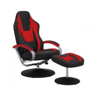 Quality Black & Red Vinyl Recliner Home Office Desk Chair With Ottoman / Adjustable Computer Chair wholesale