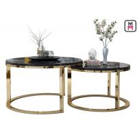 China Custom Made Double Round Stainless Steel Coffee Table Marble Top For Salon / Event on sale