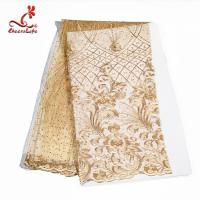 Quality Colorful Beaded Embroidered Lace Fabric For Indian Sarees OEM ODM wholesale