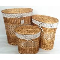 Quality oral natural color willow wicker laundry basket with lid set of 3, leaf liner wholesale