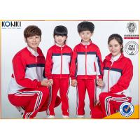 Quality Red and white color jacket design custom school uniform for sport meeting wholesale