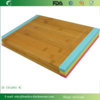 Quality TFGJ001/ Meat Bamboo Wooden Cutting Board Butcher Block with Non-Slip Color Silicone Edges wholesale