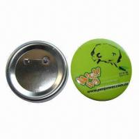 Quality Button Badge, Made of Tinplate, Customized Printing and Designs are Accepted wholesale