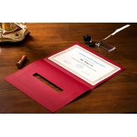 Quality OEM / ODM Award Certificate Covers , Chinese Red Parchment Paper Certificate Holder wholesale