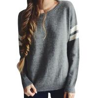 Quality Trendy Crew Neck Long Sleeve Sweater , Knit Strips Boyfriend Pullover Sweaters wholesale