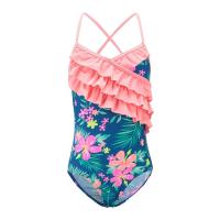 Quality Floral Prints Pink Ruffles Little Girl Swimsuits , Spaghetti Strap Swimsuit Summer Design wholesale