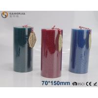 Quality Solid - colored Decorative Embossed Pillar Candles With Flat Top wholesale