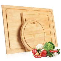 Quality BPA Free Bamboo Cutting Board for Wood Serving and Chopping Boards with Juice Groove, Set of 3 wholesale