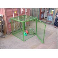 China Outdoor Propane Storage Cage Green Color , Gas Bottle Cage Powder Coating on sale