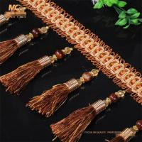 China Acrylic OEM handmade pom pom ball chain beaded trimmings tassels fringes for curtain on sale