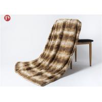 China Luxury Sable Mink pv fur minky brushed double Throw Blanket - Beige & white Mink plush Animal Print Fur Throw on sale