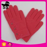 Quality 90%Acrylic 5%Spandex 5%Conductive fiber 2017 New Design Beaded Soft Candy Color Sweet Kids Winter Knitting Gloves wholesale