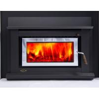 Quality High Efficiency Wood Fireplace Indoor , Metalick Black Wood Burning Insert Fireplace wholesale