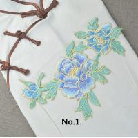 Quality Custom Colorful Embroidered Tulip Floral Applique Patches Self Adhesive 22.5 CM X 16 CM wholesale